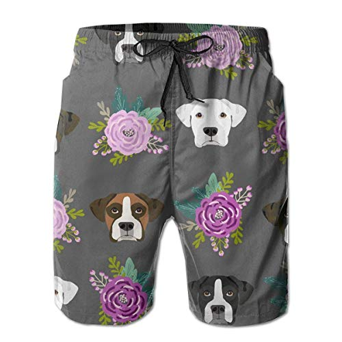 XMNCAN Boys Board Shorts Boxer Dogs and Flower Quick Dry Swim Surf Trunks (M) -