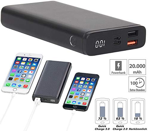 revolt Powerbank Notebook: Powerbank mit Quick Charge 3.0 und USB Typ C PD, 20.000 mAh, 3 A, 18 W (Notebook-Powerbank)