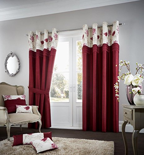 Curtains Eyelet Ready Made Fully Lined Ring Top (Koh Deep Red, 66″X90″ Curtains Pair)