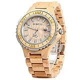 GBlife BEWELL ZS-100BG Männer Holz Armbanduhr mit Kalender Anzeige Retro Stil