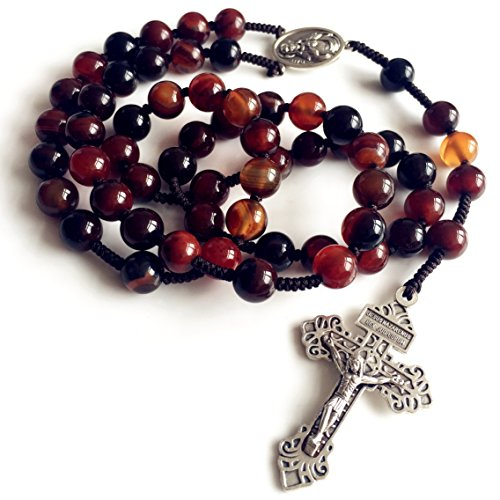 elegantmedical HANDMADE XL 10MM Natural Agate Beads HANDMADE COTTON THREAD MEN ROSARY CATHOLIC NECKLACE CROSS crucifix Mens Womens Religious Gift