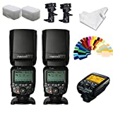YONGNUO YN600EX-RT II Flash Speedlite 2pcs TTL 1/8000s Optical Control +YNE3-RT Flash Controller for Canon Cameras +INSEESI Clean Cloth+Flash Diffuser+B Type Flash Swivel Bracket +20 Color Gels