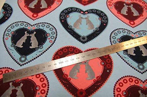 Stoff / Kinder/ Meterware / ab 25cm / beste Jersey-Qualität / Jersey / Sommer-Sweat Hasen im Herz türkis, rosa auf hblau - 3