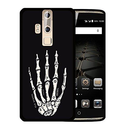 WoowCase ZTE Axon Elite Hülle, Handyhülle Silikon für [ ZTE Axon Elite ] Hand des Skeletts Handytasche Handy Cover Case Schutzhülle Flexible TPU - Schwarz