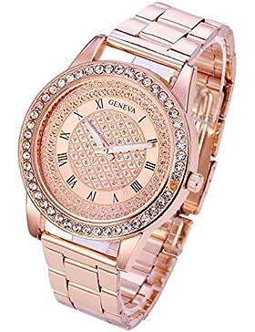 JSDDE Uhren,Luxus Damen Armbanduhr mit Strass Römische Ziffern Glitzer Dial Damenuhr Quarzuhr Kleid Uhr,Rosegold