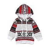 Sunenjoy Enfants Bébé Fille Manches longues Automne Hiver Multicolor Bande Capuche Sweatshirt Pull Tops Noël Vêtements (24 mois)