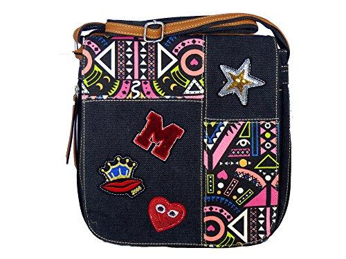Umhängetasche Canvas Style mit Aufnäher, Stern, Pailetten und grafischem Muster - Maße 29 x 28 cm - Damen Mädchen Teenager Tasche - viele Farben Schwarz