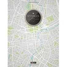 """TULPE Blanko Notizbuch A4 """"C096 Berliner Stadtplan"""" (140+ Seiten, Vintage Softcover, Seitenzahlen, Register, Weißes Papier - Dickes Notizheft, Skizzenbuch, Zeichenbuch, Blankobuch, Sketchbook)"""