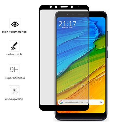 Tumundosmartphone Protector Cristal Templado Frontal Completo Negro para XIAOMI REDMI 5 Plus Vidrio