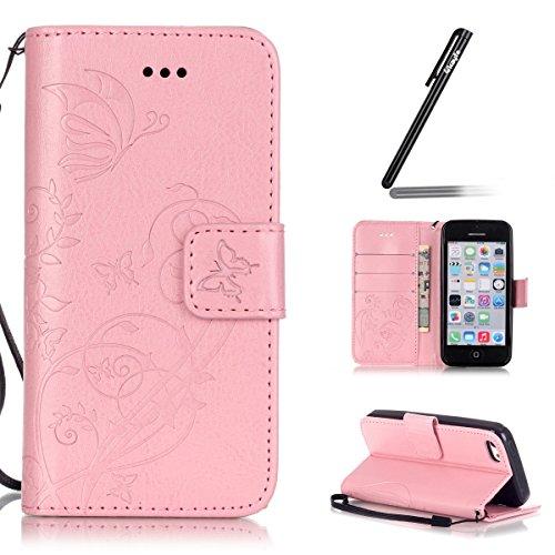 iPhone 5C Custodia Pelle,Ukayfe PU Disegni dipinto Case Cover Protettiva Portafoglio Protettivo Copertura Wallet Libro,Moda Disegno stampa dellunità di elaborazione di vibrazione del cuoio magnetico  rosa3#