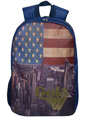 Zaino Gola Dean USA Vintage Flag - 42x30x10 - CUB486 - Denim Blue/Gold Multicolore