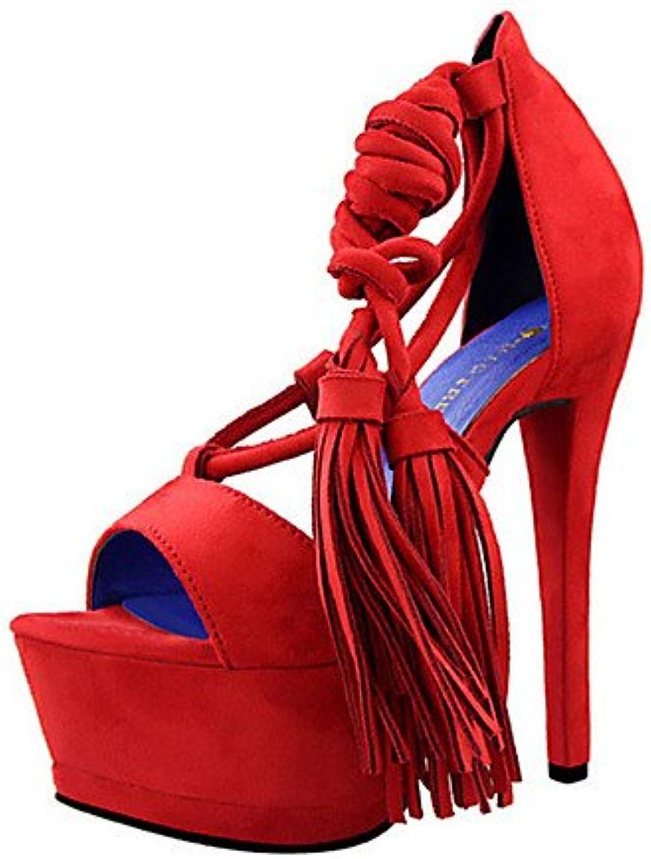 ZQ Zapatos de mujer-Tac¨®n Stiletto-Tacones-Tacones-Casual-Vell¨®n-Negro / Rojo / Gris , gray-us7.5 / eu38 / uk5.5...