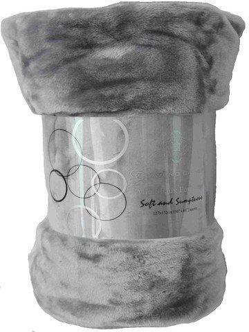 Couvre-lit en fourrure de vison synthétique 13couleurs, L et Xtra Grande couverture Canapé 2–3places/lit–par Rynz Collection (TM), Tissu, Silver, Large (150x200cm)