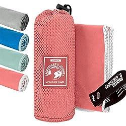 Backpacker's Journey Mikrofaser Handtücher in S M L XL. Reisehandtuch Sets leicht, schnelltrocknend, saugfähig und antibakteriell (Lachsfarben L)