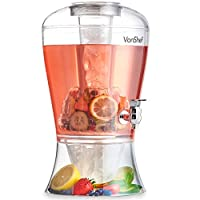 VonShef Drinks 8L Dispenser With Tap, Ice Core, Fruit Infuser & Ice Tray (14 Pints)