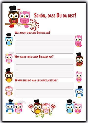 Hochzeitsspiel 52 Postkarten Hochzeitsspiele - Schön, dass Du da bist & Fragen + Aufgaben für Gäste Brautpaar Eulen Lustige Postkarte-buch