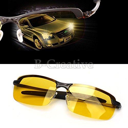 b-creative Sonnenbrille Herren HD polarisierten Blendschutz Nacht Driving Gläser Gents gelb Objektiv