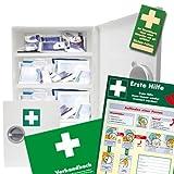 Erste Hilfe Schrank DIN 13169 inkl. Füllung, Verbandbuch, 10 Prüfsiegel + Anleitung Erste Hilfe