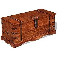 Preisvergleich für vidaXL Massivholz Aufbewahrungstruhe Holztruhe Couchtisch Beistelltisch Vintage