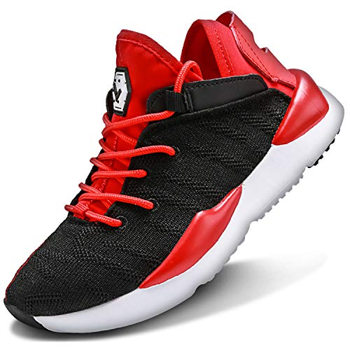 Scarpe Sportive Bambini e Ragazzi Scarpe da Corsa Ginnastica Respirabile Mesh Running Sneakers Fitness Casual(C-Rosso,29 EU)