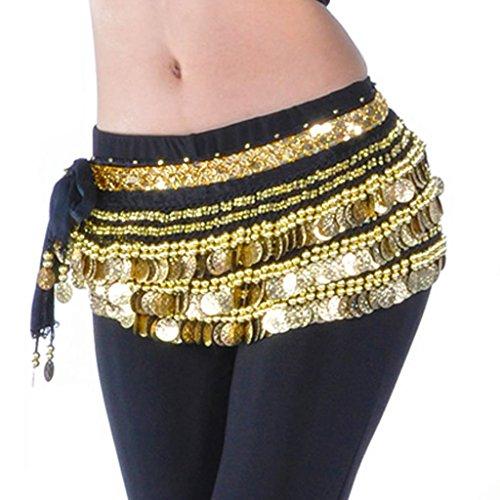 uchtanz-Wickeltuch mit Goldmünzen, mehrere Reihen, für Tanzveranstaltungen und Party Gr. Einheitsgröße, schwarz ()