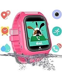 Niños Impermeable Smartwatch con rastreador de GPS - Niño niña IP67 Impermeable Mirar Telefono con cámara Juegos Relojes Deportivos Regreso a la Escuela Suministros para Estudiantes (Rosa)