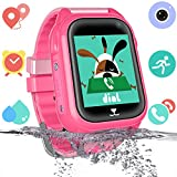 Bambini Smartwatch Impermeabile con GPS Tracker, Ragazzi e ragazze Orologio Phone con Localizzatore GPS LBS Chat Vocale SOS Anti-lost da Polso Bracciale Regalo Watch Compatibile con iOS Android, Rosa