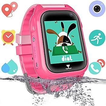 Montre Téléphone étanche pour Enfants avec GPS Tracker - Smartwatch Phone avec Chat Vocal Jeux de caméras SOS Regarder Réveil par Les Parents Compatible ...