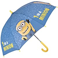 PERLETTI Despicable Me Umbrella - Little boy umbrella, sky-blue and yellow, durable, windproof and long - Safe with rounded and locked tips - 3 to 6 Years - Safe manual opening