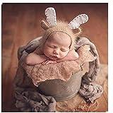 Neugeborene Baby Fotografie Requisiten Boy Girl Crochet Kostüm Outfits Cute Deer Hat