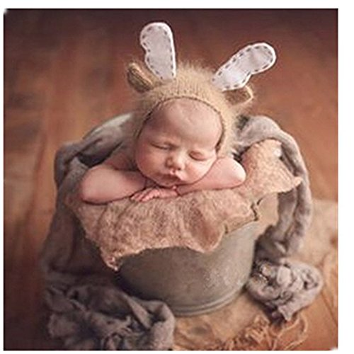 Neugeborene Baby Fotografie Requisiten Boy Girl Crochet Kostüm Outfits Cute Deer Hat