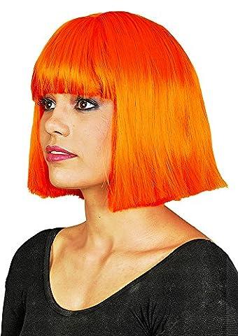Hochwertige Bob Perücke Jacky exklusiv Show Party zum Kostüm Fasching kinnlang - Neon Orange