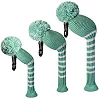 Turqoise Blue White Classic Stripes Style Knit Golf Headcover Set of 3 for Driver Wood(463cc) Fairway Wood and Hybrid/UT