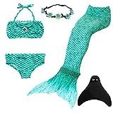 UrbanDesign Meerjungfrau Flosse Zum Schwimmen Flossen Für Mädchen Kinder mit Bikini, 9-10 Jahre, Smaragd