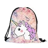 Gemini _ Mall® unicorno con cordoncino zaino stampa 3D party bag scuola zaino da viaggio, palestra, zaino, borsa a tracolla, Beige