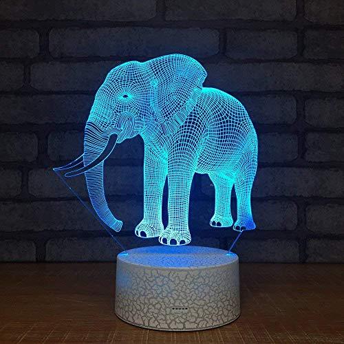 Subtop Lámpara de ilusión óptica 3D, 7 Lámpara de tacto de cambio de color con plano acrílico, base ABS, carga USB para decoración del hogar (Lámpara de elefante)