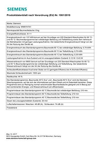 Siemens WM6YH741 Waschmaschine Frontlader/A+++/1555 UpM/ Antiflecken-System/Nachlegefunktion - 3