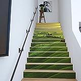 Treppen Europäisch Kreativ 3D Treppen Aufkleber Green Mountains DIY Selbstklebend Sticker,100 * 18cm*13pcs