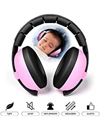 Teepao [2018 Actualizado] Protección para los Oídos del Bebé Cancelación de Ruido Headphones NRR 30dB Ajustable y Suave y Seguridad del Oído del Bebé Muff para 6 Meses a 6 Años-Rojo