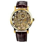 GuTe, orologio da polso da donna, steampunk, a carica manuale, con scheletro meccanico dorato e cinturino in plutonio, colore marrone scuro
