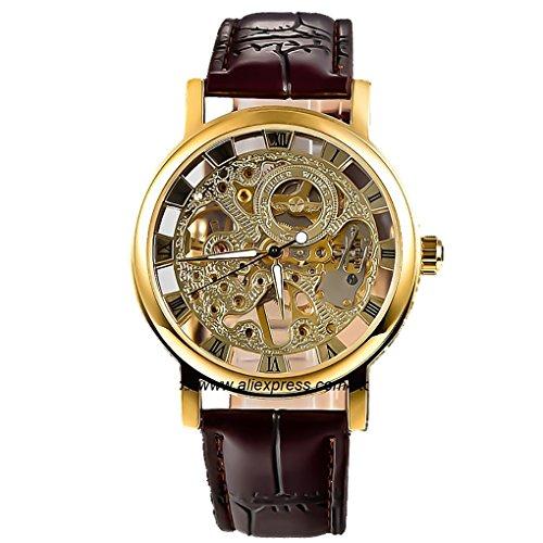 Reloj de pulsera de oro de la humanidad por la UNESCO vestido esqueleto mecánico de Steampunk de la mano del viento de color marrón oscuro de la correa de la PU