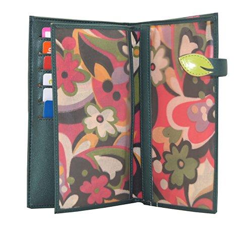 In pelle goffrata Menkai borsa del portafoglio PU disegno fiori 761Z1 verdi BLACK