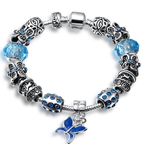 A TE® Bracciale Charm Blu Farfalla Smalto cristalli Regalo Festa #JW-B131