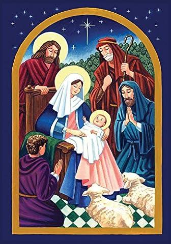 Toland Home Garden Nativity Night 28 x 40-Inch Decorative USA-Produced House Flag