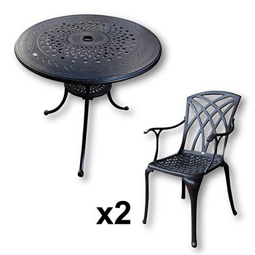 Lazy Susan - ANNA Runder Gartentisch mit 2 Stühlen