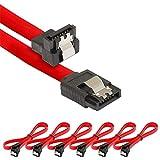 Poppstar 6 cavi dati SATA 3 HDD SSD, attacco destro a gomito, 90°, fino a 6 Gb/s, lunghezza: 0,5 m, colore: Rosso