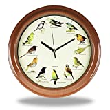 Monsterzeug Vogeluhr, Wanduhr mit Vogelstimmen, Uhr mit Vogelgeräuschen, Singing Birds Clock, 30 cm Durchmesser