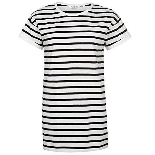Miso Damen Yarn Dye Boyfriend T Shirt Gestreift Leicht Kurzarm Langer Schnitt Weiß/Schwarz 10 (S) (Gestreiften T-shirt Schwarz Und Gelb)