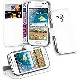 Cadorabo - Funda Samsung Galaxy TREND PLUS (GT-S7580) Book Style de Cuero Sintético en Diseño Libro - Etui Case Cover Carcasa Caja Protección (con función de suporte y tarjetero) en BLANCO-ÁRTICO
