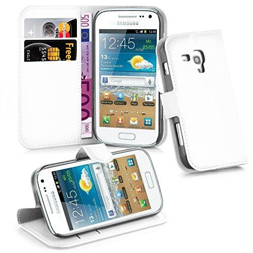 Cadorabo - Book Style Hülle für Samsung Galaxy TREND PLUS (GT-S7580) - Case Cover Schutzhülle Etui Tasche mit Standfunktion und Kartenfach in ARKTIS-WEIß